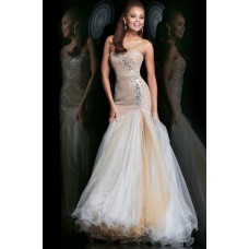 Mermaid Trumpet Sweetheart Long Champagne Sequin Beaded Tulle Prom Dress