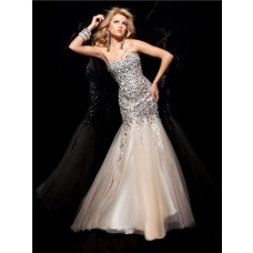 Mermaid/ Trumpet Sweetheart Long Silver Sequins Champagne Tulle Prom Dress Beaded Crystals