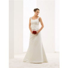 Mermaid V Back Lace Satin Draped Wedding Dress With Straps