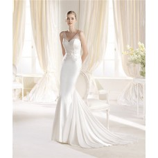 Mermaid V Neck And Back Chiffon Beaded Wedding Dress With Sheer Straps
