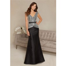Mermaid V Neck Black Satin Beaded Mother Of The Bride Evening Dress With Sash