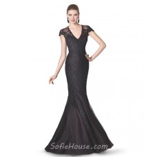 Mermaid V Neck Cap Sleeve Black Tulle Lace Beaded Long Evening Prom Dress