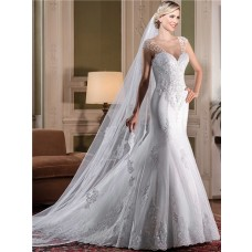 Mermaid V Neck Cap Sleeve Sheer Tulle Beaded Back Lace Wedding Dress