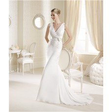 Mermaid V Neck Chiffon Beaded Summer Wedding Dress With Sash Flower
