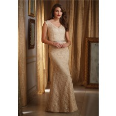 Mermaid V Neck Gold Lace Mother Of The Bride Evening Dress With Buttons And Sash