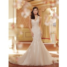 Mermaid V Neck Keyhole Open Back Draped Tulle Lace Beaded Wedding Dress With Straps