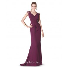 Mermaid V Neck Long Burgundy Chiffon Lace Special Occasion Evening Dress