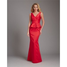 Mermaid V Neck Low Back Long Red Satin Peplum Wedding Guest Bridesmaid Dress With Belt