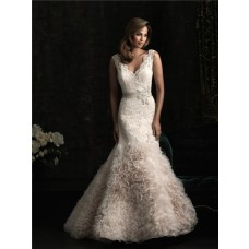 Mermaid V Neck Low Back Tulle Lace Wedding Dress With Sash Crystals