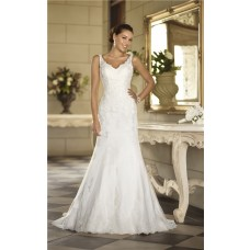 Mermaid V Neck Open Back Lace Wedding Dress With Detachable Train
