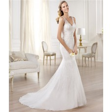Mermaid V Neck Satin Tulle Wedding Dress With Sheer Straps Sequins Beading