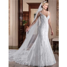 Mermaid V Neck Sleeveless Tulle Lace Wedding Dress With Crystal Buttons