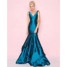 Mermaid V Neck Teal Taffeta Ruffle Layered Evening Prom Dress