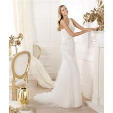 Modern Mermaid One Shoulder Tulle Wedding Dress With Beaded Crystals