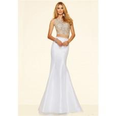 Modern Mermaid Two Piece White Taffeta Beaded Prom Dress