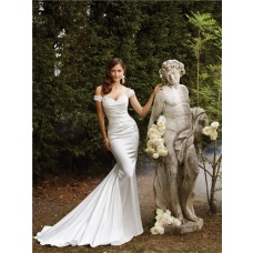 Modern Sexy Sheath Off The Shoulder Straps Shimmer Satin Wedding Dress Sweep Train