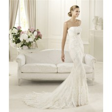 Modern Slim Mermaid Strapless Feather Lace Wedding Dress With Crystals