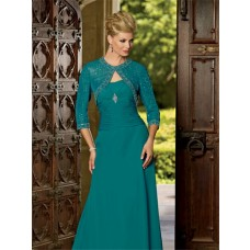 Modern sweetheart floor length jade chiffon mother of the bride dress and bolero jacket