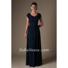 Modest A Line Cap Sleeve Long Navy Blue Lace Chiffon Evening Prom Dress