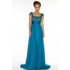Modest A Line Cap Sleeve Long Turquoise Blue Chiffon Beaded Formal Occasion Evening Dress