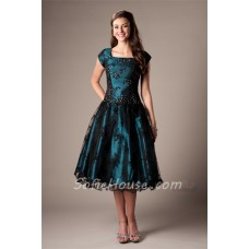 Modest A Line Cap Sleeve Teal Satin Black Lace Tea Length Corset Prom Dress