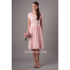 Modest A Line Scoop Neck Light Pink Chiffon Lace Bridesmaid Dress