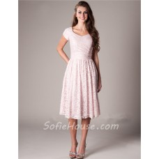 Modest A Line Short Sleeve Blush Pink Lace Wedding Party Bridesmaid Dress