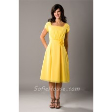 Modest A Line Short Sleeve Yellow Chiffon Party Bridesmaid Dress With Flower Sash
