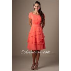 Modest A Line Short Sleeves Coral Chiffon Tiered Ruffles Bridesmaid Dress