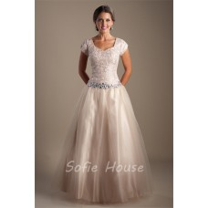 Modest A Line Sleeve Champagne Nude Tulle Rhinestone Prom Dress Corset Back