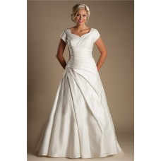 Modest A Line Sleeve Ivory Satin Draped Wedding Dress With Buttons Train