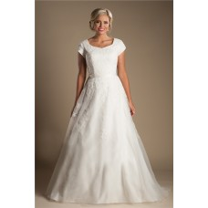 Modest A Line Sweetheart Cap Sleeve Organza Lace Wedding Dress With Sash