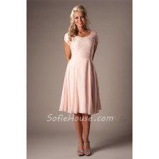 Modest A Line Sweetheart Short Sleeves Blush Pink Chiffon Lace Party Bridesmaid Dress
