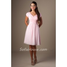 Modest A Line V Neck Cap Sleeve Light Pink Chiffon Ruched Short Bridesmaid Dress