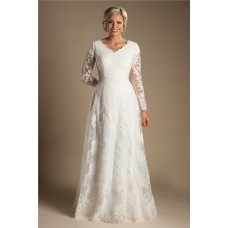 Modest A Line V Neck Long Sleeve Ivory Lace Wedding Dress With Buttons