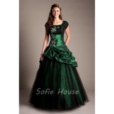 Modest Ball Gown Cap Sleeve Dark Green Taffeta Applique Beaded Prom Dress