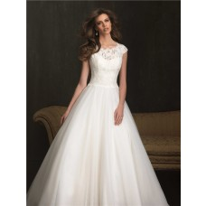 Modest Ball Gown Cap Sleeve Lace Tulle Wedding Dress With Buttons