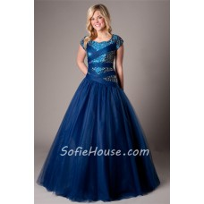 Modest Ball Gown Cap Sleeve Navy Blue Tulle Beaded Corset Evening Prom Dress