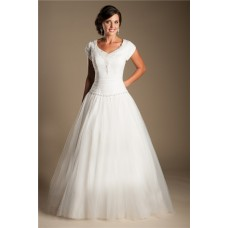 Modest Ball Gown Drop Waist Tulle Beaded Wedding Dress With Sleeves
