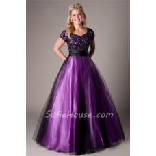 Modest Ball Gown Purple Satin Black Tulle Lace Prom Dress With Sleeves