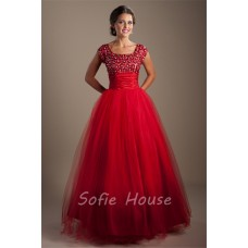 Modest Ball Gown Square Neck Red Tulle Beaded Corset Prom Dress With Sleeves