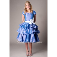 Modest Ball Sweetheart Cap Sleeve Periwinkle Taffeta Ruffle Party Prom Dress With Sash