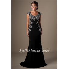 Modest Cap Sleeeve Long Black Jersey Applique Beaded Formal Occasion Prom Dress