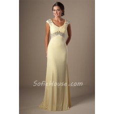 Modest Cap Sleeve Empire Waist Daffodil Yellow Chiffon Beaded Evening Prom Dress