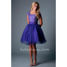 Modest Cap Sleeve Short Purple Satin Tulle Beaded Tutu Prom Dress Corset Back