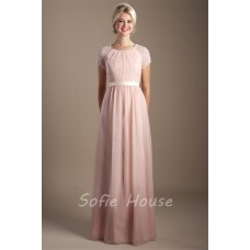 Modest High Neck Long Blush Pink Chiffon Sleeve Beaded Evening Prom Dress With Sash