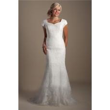 Modest Mermaid Queen Anne Neckline Cap Sleeve Court Train Lace Wedding Dress