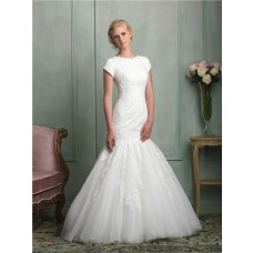 Modest Mermaid Scoop Neck Cap Sleeve Tulle Lace Wedding Dress With Buttons