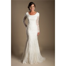 Modest Mermaid Scoop Neck Long Sleeve Lace Wedding Dress With Buttons