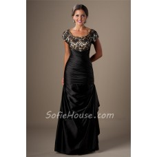 Modest Mermaid Square Neck Cap Sleeve Black Taffeta Lace Prom Dress